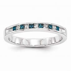 14k White Gold Blue & White Diamond Band