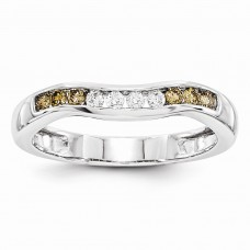 14k White Gold Champagne & White Diamond Band