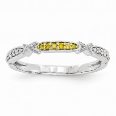 14k White Gold Yellow & White Diamond Band