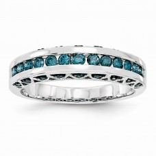 14k White Gold Blue Diamond Band