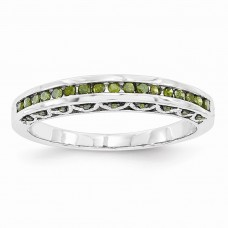 14k White Gold Green Diamond Band