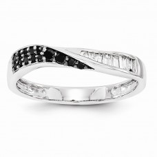 14k White Gold Black & White Diamond Band