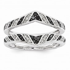 14K White Gold  Black & White Diamond Ring Guard