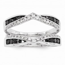14k White Gold Black & White Diamond Guard