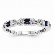 14k White Gold Diamond & Blue Sapphire Ring