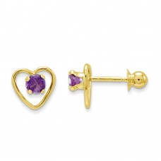 14k Madi K 3mm Amethyst Birthstone Heart Earrings