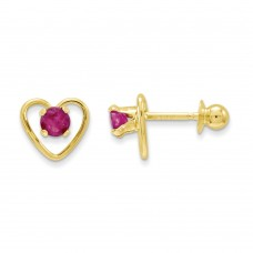 14k Madi K 3mm Ruby Birthstone Heart Earrings