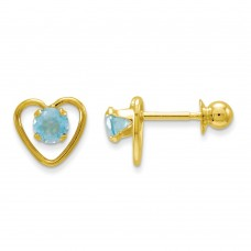 14k Madi K 3mm Blue Zircon Birthstone Heart Earrings