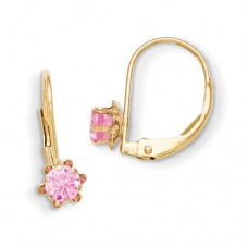 14k Madi K Leverback 3mm Pink CZ Earrings