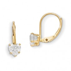 14k Madi K Leverback 4mm Heart CZ Earrings