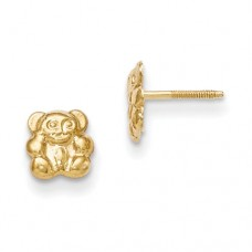 14k Madi K Teddy Bear Screwback Earrings