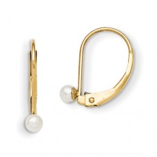14k Madi K Leverback 3mm Cultured Pearl Earrings