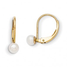 14k Madi K Leverback 4.5mm Cultured Pearl Earrings