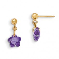 14k Madi K Flower Purple CZ Earrings