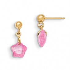 14k Madi K Flower Pink CZ Earrings