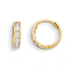 14k Madi K Hinged CZ Hoop Earrings