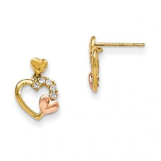 14k Madi K Yellow & Rose Gold CZ Heart Dangle Post Earrings