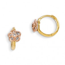 14k Madi K Yellow & Rose Gold CZ Flower Hinged Hoop Earrings