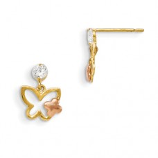 14k Madi K Yellow & Rose Gold CZ Butterfly Dangle Earrings