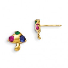 14k Madi K Multicolor CZ Children's Mushroom Earrings