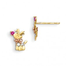14k Madi K Yellow & Rose Gold CZ Children's Reindeer Post Earrings