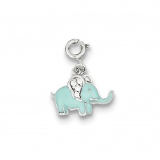 Sterling Silver Blue Enameled with CZ Elephant Charm