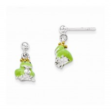 Sterling Silver Children's Gold-plated/Enameled Prince Frog Earrings
