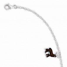 Sterling Silver w/ 1.5in ext Brown Enamel Deer Kid's Bracelet
