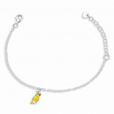 Sterling Silver w/ 1.5in ext Enamel Bird Kid's Bracelet