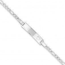 Sterling Silver Baby ID with Heart Bracelet