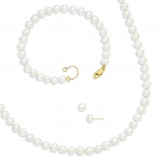14k 6-6.5mm FWC Pearl 7.25in w/1in ext Bracelet 18in w/2in ext Neck Earring