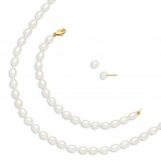 14k 5mm FWC Pearl White 5in Bracelet 14in Necklace Earrings Set