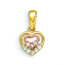 14k Yellow and Rose Gold CZ Children's Heart Pendant