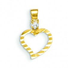 14k CZ Diamond-cut Children's Heart Pendant