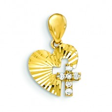 14k CZ Diamond-cut Children's Heart Cross Pendant