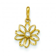 14k CZ Diamond-cut Children's Flower Pendant