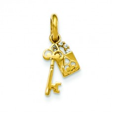 14k CZ Children's Lock and Key Pendant