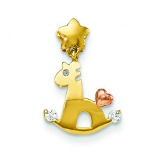 14k Yellow and Rose Gold CZ Children's Rocky Horse Pendant