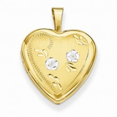 14k Gold Filled Two-color 2-Frame Heart Locket