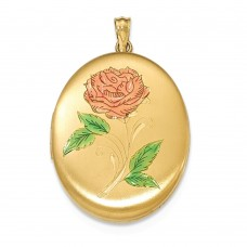 14k Gold Filled 34mm Tri-color Flower Oval Locket