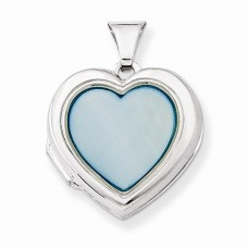 Sterling Silver Blue MOP 18mm 2-Frame Heart Locket