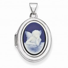 Sterling Silver Angel Agate Cameo 20mm 2-Frame Oval Locket