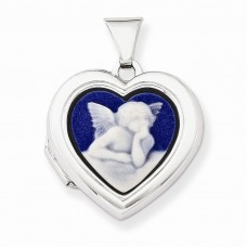 Sterling Silver Angel Agate Cameo 18mm 2-Frame Heart Locket