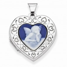 Sterling Silver Angel Agate Cameo 21mm 2-Frame Heart Locket