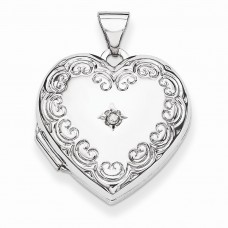 Sterling Silver Diamond Heart Locket