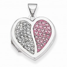 Sterling Silver 18mm Heart Light Rose and White Swarovski Elements Locket