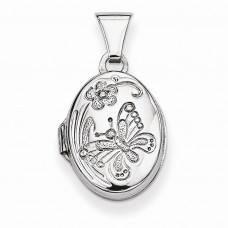 Sterling Silver Butterfly Oval Locket
