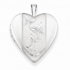 Sterling Silver 20mm with Butterflies Heart Locket