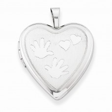 Sterling Silver 20mm with Handprints Heart Locket