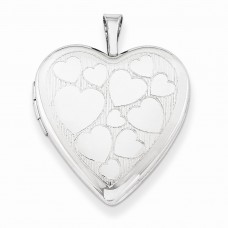 Sterling Silver 20mm with Floating Hearts Heart Locket